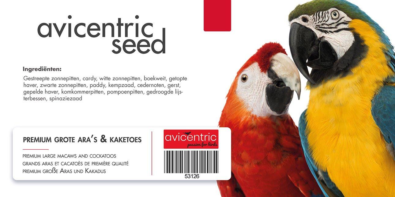 Productlabel AviCentric V.O.F. | Papegaaienvoer Premium Grote Ara en Kaketoe emmer 2kg.