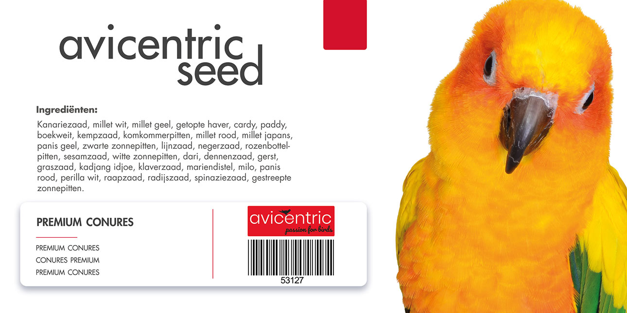 Productlabel AviCentric V.O.F. | Papegaaienvoer Premium Conures emmer 2kg.
